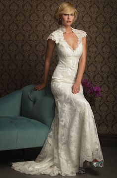 Allure Bridal Size 8 Ivory Lace Wedding Dress Style 8764 in Clothing, Shoes & Accessories, Wedding & Formal Occasion, Wedding Dresses Keyhole Back Wedding Dress, Wedding Dress Train, Used Wedding Dresses, Elegant Wedding Dress, Wedding Dress Styles, Elegant Dresses, Casual Wedding, Wedding Dresses For Busty Brides, Trendy Wedding