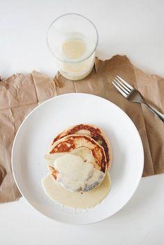 pear-creme fraiche pancakes with vanilla bean crème anglaise