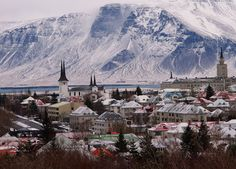 Iceland's capital city Reykjavik with Mount