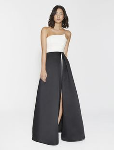 5fe0d8a04649 Strapless Satin Faille Color Block Gown Color Blocking