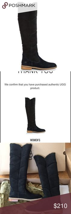 "UGG AUTHENTIC SAMANTHA TALL BOOTS SZ 11 new UGG AUTHENTIC SAMANTHA TALL BOOTS SZ 11 new 100% authentic QR READER SCANNABLE TAG FOR AUTHENTICITY Beautiful scallop seaming modernizes this luxe over-the-knee boot. Crafted from sumptuous Twinface sheepskin and suede, the Samantha sits on a modern crepe outsole, cushioning insole, and slight stacked heel for comfort and contemporary style. Twinface sheepskin and suede 1 ¼"" heel 18 ¼"" shaft height PRON® foam insole lined with sheepskin Leather…"