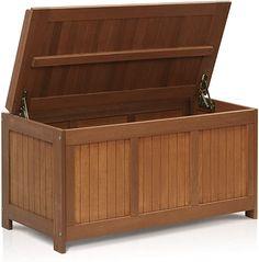Amazon.com : Furinno FG17685 Tioman Outdoor Patio Furniture Hardwood Deck Box in Teak Oil, Natural : Garden & Outdoor