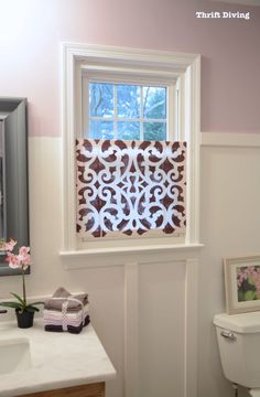 How to Make a Pretty DIY Window Privacy Screen How-to-make-DIY-privacy-screen-for-window-Thrift-Divi Window Privacy Screen, Bathroom Window Privacy, Bathroom Window Coverings, Bathroom Windows, Window Blinds, Bathroom Closet, Privacy Screens, Panel Blinds, Privacy Shades