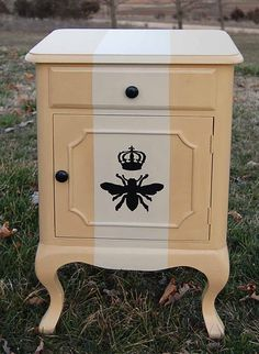 Formerly a floral chest, now trans- formed into a Queen Bee Motif!