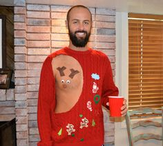 ba4a8242517 Mens Ugly Christmas Sweater Pastie Rudolf Sexy by YourSassyGrandma Ugly  Sweater Party