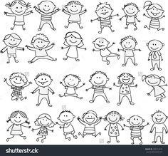 Happy kid cartoon doodle collection