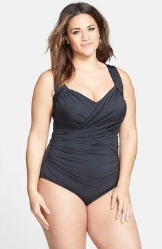 bdb48c01832 Badgley Mischka Front Drape One-Piece Swimsuit (Plus Size)
