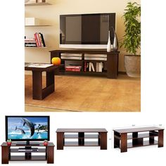 TV Stand Entertainment Center Functional MediaConsole Storage Wood Furniture New #TVStandEntertainmentCenter #Modern