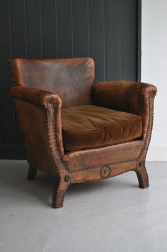 A Distinguished French Leather Armchair With Studding And A Cushion In The  Original Velvet. From HV Member, Ben Southgate.