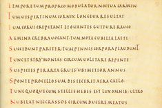 Capitalis quadrata  The written variant of the epigraphic capitalis quadrata, sometimes referred to as capitalis elegans, imitates the style of antique Roman inscriptions. It was not easy to write, as the representation on parchment of letters normally carved in stone demands a special mani­pulation of the quill.