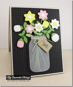 Fine Check Background, Mason Jar Labels, Fresh Cut Flowers Die-namics, Mason Jar Die-namics - Jodi Collins #mftstamps