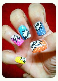 Comic Nail Art Hair Beautiful flowers nails Nails by Are your nails more styled than your outfit? Do you have more art on . Comic Book Nails, Comic Nail Art, Book Nail Art, Nail Art Diy, Diy Nails, Crazy Nail Art, Crazy Nails, Pretty Nail Art, Love Nails