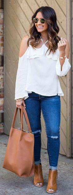 flawless spring outfits / White Open Shoulder Top / Ripped Skinny Jeans / Brown Leather Open Toe Booties / Camel Leather Tote Bag