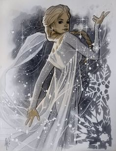 Elsa from frozen has been all over the place ever since the movie has been in theatres but NOBODY has ever quite produced anything as stunning as this version by Adam Hughes.