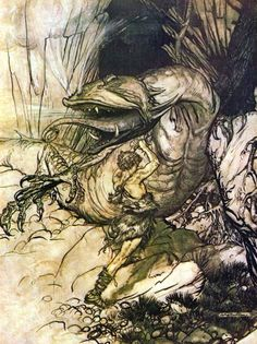 Siegfried slaying a dragon-transformed Fafnir by Arthur Rackham