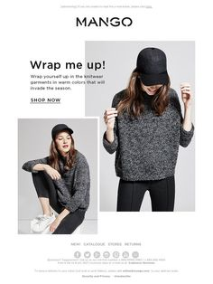 Mango - Fashion edit: Wrap yourself up in this season's knitwear garments Email Design Inspiration, Layout Inspiration, Creative Instagram Stories, Instagram Layouts, Email Newsletter Design, Fashion Banner, Email Marketing Design, Fashion Graphic Design, Clothing Photography