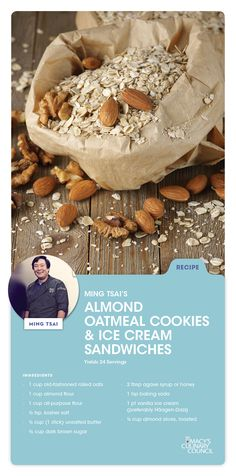 Macy's Culinary Council Chef Ming Sai's Almond Oatmeal Cookies and Ice Cream Sandwich recipe is a treat for kids of all ages.