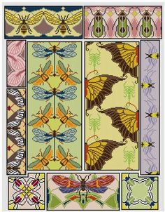 Butterlies Dragonflies Insects Cross stitch panel PDF pattern flora and fauna