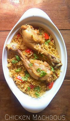 Bahraini Chicken and Spicy Rice or Machboos ala Dajaj. The Recipe of national dish of Bahrain. #Bahrain #Chicken #Machbous