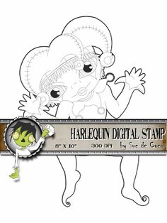 #Digitalstamp HARLEQUIN for #scrapbooking #cardmaking #craft by SUCDECOCO http://etsy.me/1hM1Z4b vía @Etsy Enjoy coloring the nice harlequin, €2.00