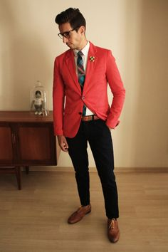 Fancy Friday – what my boyfriend wore Coral Pants, Coral Blazer, Red Blazer, The Style Council, Blazer Outfits Men, Tartan Tie, Skinny Chinos, Gentleman Style, Gentleman Fashion