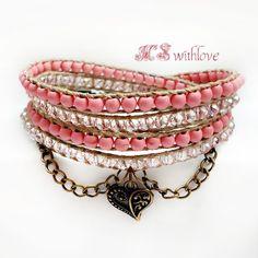 Shabby Chic Pink Bracelet, Unique Boho Pink Jewelry, Bohemian Pink Wrap Bracelet, Bronze bracelet handmade by MSwithlove on Etsy
