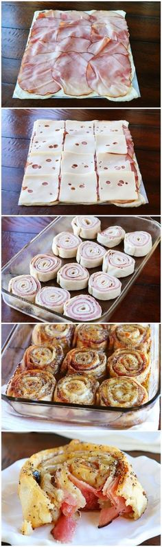 Hot Ham & Cheese Party Rolls 1 can Classic Pizza Crust 3/4 lb deli ham (thinly sliced, but not shaved) 12 slices Swiss cheese (thinly sliced) Glaze 1/2 cup (8 tablespoons) butter 2 tablespoons brown sugar 1 tablespoon Worcestershire sauce 1 tablespoon Dijon mustard 1 tablespoon poppy seeds
