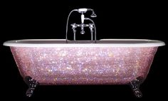 tub covered in pink Swarovski crystals!
