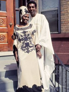 Singer Miriam Makeba and Stokely Carmichael on their wedding day, May 1968