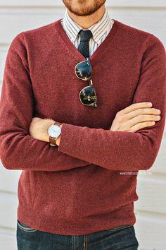 November 18, 2013. Sweater: H&M - $29 (similar)Shirt: Frank & Oak - $35Jeans: American Eagle - $39Shoes: J. Shoes Charlie - Jack Thr...