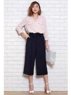クロップトワイドパンツ(ホワイト/ピンク)(ワイドパンツ)|JUSGLITTY(ジャスグリッティー)|ファッションウォーカー