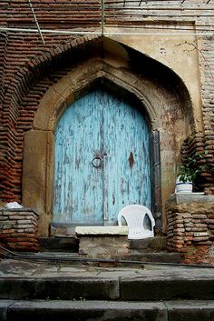 Belltower Door, Upper Bethlehem Church, Sololaki Neighborhood, 2002, Tbilisi, Georgia, via Flickr.