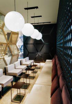 Interior design, details. Commercial space. Black + gold.
