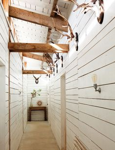 love the long narrow plank lined hallway and the way the trusses get absorbed into the wall...