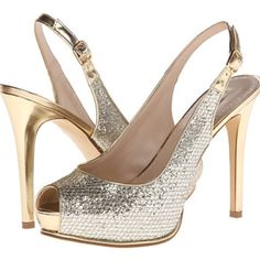 """Guess Huela Gold Glitter Peep Pumps Heels worn once, a few small nicks on the back of heel as shown in pictures. Color not affected there. Heels run small. I wear an 8 but had to purchase a size 8.5. --5"""" long heel trades PayPal Guess Shoes Heels"""