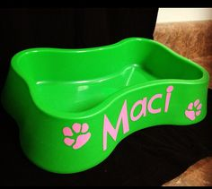 Personalized Dog Bowl by TickleMeTurquoise on Etsy, $8.00