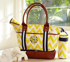 I love the Yellow Chevron Sausalito Tote & Bottle Bag on potterybarnkids.com
