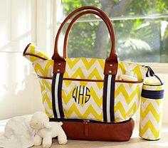 I love the Yellow Chevron Sausalito Tote & Bottle Bag on potterybarnkids.com