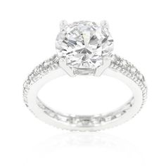 White Gold Rhodium Bonded Micro Pave #Ring with Large 4 Carat Center Stone in Silver Tone