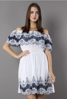 Folksy Lace Cutout Off-shoulder Dress in White