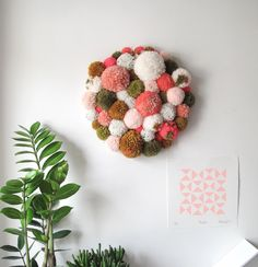 Pom Pom Wall Hanging/Wall Art Peaches and Green – Never Perfect Studio Moss Wall Art, Yarn Wall Art, Hanging Wall Art, Tassle Garland, Crafts To Make, Arts And Crafts, Peach Walls, Peach And Green, Couture