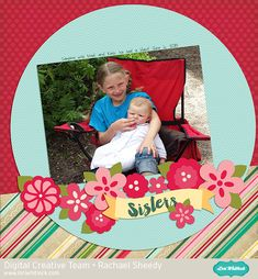 Lori Whitlock Four Seasons Layout: Spring template & Echo Park Jack & Jill Girl Digital Layout by Rachael Sheedy.