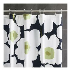 Crate and barrel shower curtain in green, white, black floral