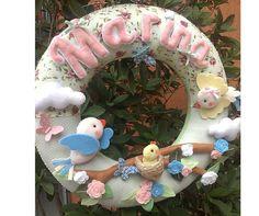 Guirlanda de passarinhos para porta de maternidade feita em feltro e tecido! #guirlanda #portadematernidade #guirlandadefeltro #maternidade #bebê #passarinho