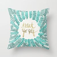 Throw Pillows featuring Treat Yo Self – Gold & Turquoise by Cat Coquillette