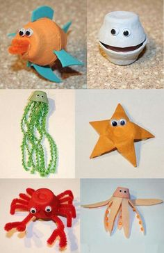 Using egg cartons, you can make . Using egg cartons, you can do recycling jobs with these sea animals. Kids Crafts, Sea Crafts, Summer Crafts, Toddler Crafts, Preschool Crafts, Arts And Crafts, Paper Crafts, Recycled Art Projects, Recycled Crafts