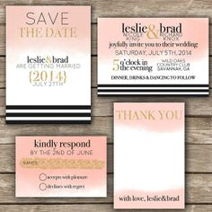 Kim kardashian and kanye wests wedding invitation picture custom modern blush black gold wedding invitation suite by cupcakes saltwater available on etsy stopboris Gallery
