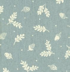 Acorn and Leaf  Linen Fabric in Duck Egg (other colours available) |  £45.00 per metre | Vanessa Arbuthnott