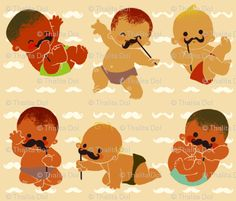 babies with mustache fabric, I'm dying from the cuteness! How awesome would this be on a quilt?!?!