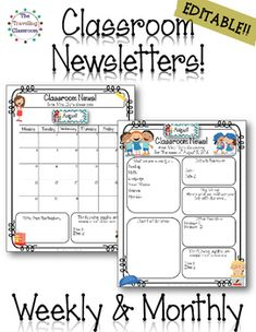 here is a free class newsletter template that is editable you can